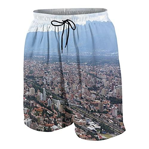 Popsastaresa De Los Hombres Casual Pantalones Cortos,Escena de la Ciudad de Cochabamba Bolivia,Secado Rápido Traje de Baño Playa Ropa de Deporte con Forro de Malla