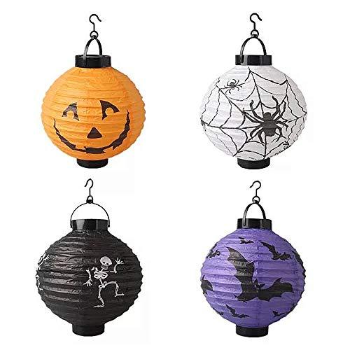 Nv Wang Halloween Lampion,Papier Laternen 4 Stück Pop-Up LED Laternen Fledermaus, Spinne, Skelett und DIY Kürbis Rund Lampenschirm für Hängen Outdoor Yard Party Dekoration