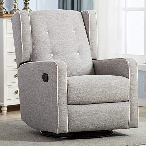 Swivel Rocker Recliner Chair, Nursery Glider Chair, Nursery Rocking Chairs, Manual Reclining Chair, Grey