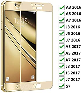 xzpolw-Phone Screen Protectors - 9D Protective Glass on For for Samsung Galaxy A3 A5 A7 J3 J5 J7 2016 2017 Screen Protector For for Samsung S7 Tempered Glass Film Case (For Samsung j7 2017 White)