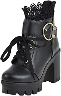 Holzkary Women's Martin Boots Fashion Thick High Heel Platform Boots Lace-up Ankle Booties with Lace