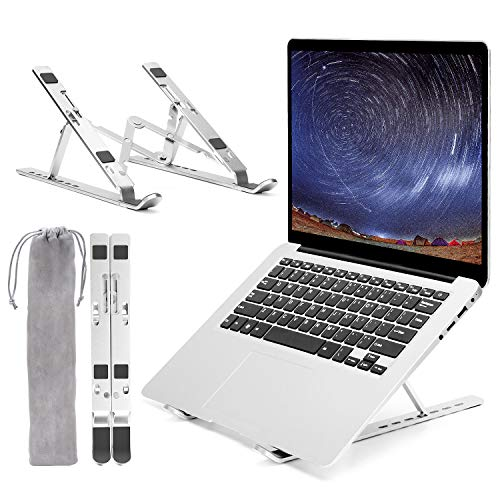 """Laptop Stand, Adjustable Computer Stand Portable Laptop Stand for Desk, Aluminum Ventilated Cooling Laptop Holder Riser Mount for MacBook Air Pro, Dell, Lenovo, HP, More 10-15.6"""" Laptops"""