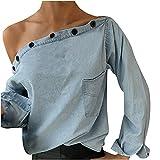 2021 Camiseta de mujer, Elegante Sexy Manga Larga Color sólido Hombro sin Tirantes Moda vaquero Fiesta Blusa y camisa Suelto otoño Camiseta Tops Casual T-Shirt original