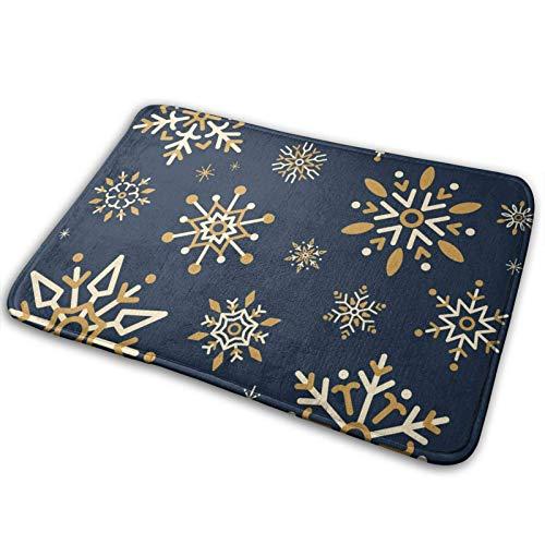 WXM Alfombra de baño para puerta de baño con copos de nieve, color azul dorado, espuma viscoelástica, alfombra para cocina en el interior al aire libre, 15,7 x 59,7 cm