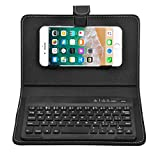 ELIATER Portable Wireless Bluetooth Keyboard with Leather Case Cover with for 4.5''-6.8'' iOS, Android and Windows Smart Phones (Black)