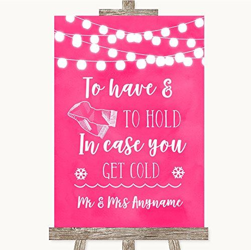 Huwelijksbord Poster Print Hot Fuchsia Roze Watercolor Lights Huwelijksdeken Sjaal kan volledig worden aangepast elke tekst of kleur - Perfect Venue Decoratie (A5) Small