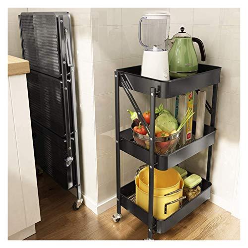 ZYFang 3 Niveles Mueble Auxiliar de Cocina, Plegable Fruteros de Cocina Metal Carrito Auxiliar con 4 Ruedas y 3 Cestos para Cuarto baño Sala Balcón (Color : Black, Size : 17.7 * 11.6 * 30.3in)