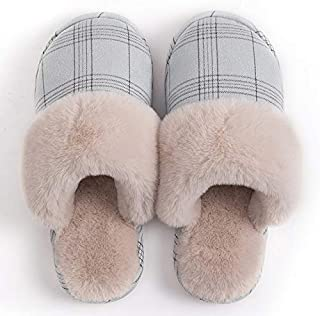 YANGLAN Winter home cotton slippers female couple new men's indoor home couple autumn and winter wool plush slippers Household slippers (Color : E)