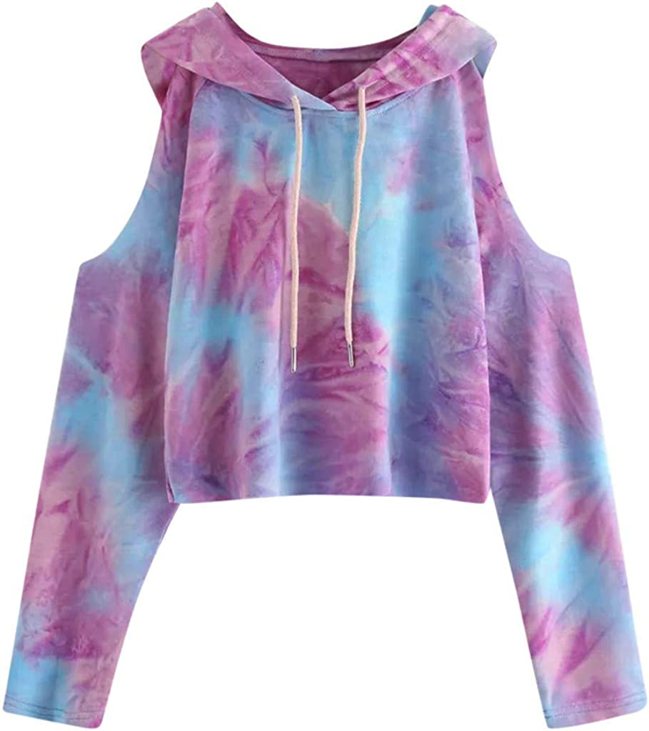 Forwelly Cropped Sweatshirt Hooded for Women Teen Girl Fashion Off Shoulder Tie Dye Hoodies Long Sleeve Top Pullover