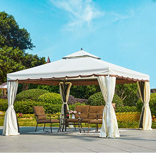 Erommy 12' x 12' Outdoor Canopy Gazebo Double Roof Patio Gazebo Steel Frame with Netting and Shade Curtains for Garden,Patio,Party Canopy-Cream