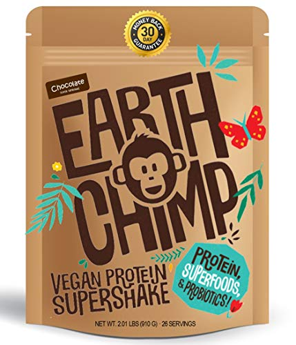 EarthChimp Plant Based Vegan Protein Powder (26 Servings, 32 Ounces) with Superfoods, Probiotics & Organic Fruit & Veg, No Added Sugar, Gluten Free, Gum Free, Lactose Free, Non GMO (Choc)