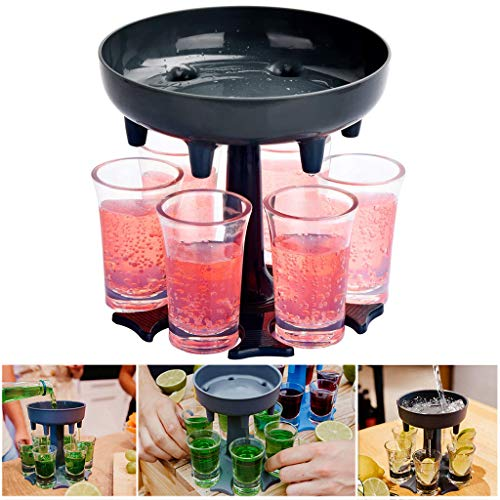 6 Shot Glass Dispenser Holder-Cocktail Dispenser-Bar Cocktail Lifter-Party Favors Holder-Drinking Games Carrier Caddy-Liquor bottles Dispenser -Party liquor Wine Dispenser for(Gray+6 glass)