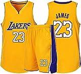 Lakers James Número 23 Ropa De Baloncesto Chaleco Deportivo + Pantalón Corto Conjunto De Dos Piezas Ropa Deportiva para Niños Adultos Ropa Informal,Yellow-S