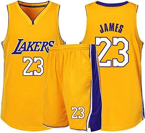 Lakers James Número 23 Ropa De Baloncesto Chaleco Deportivo + Pantalón Corto Conjunto De Dos Piezas Ropa Deportiva para Niños Adultos Ropa Informal,Yellow-M