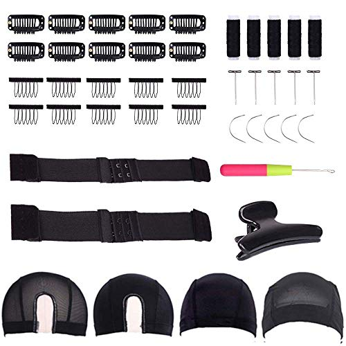 fani Mesh Spandex U-Part Dome Wig Cap with T-Pin Needle, C Shape Needles, Tooth Wig Combs and Black Large Butterfly Clamps, Elastic Band Wig Kit for Making Wigs