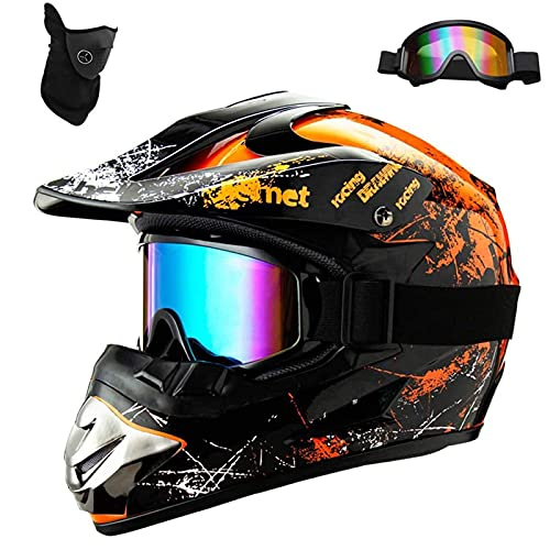ZXVC Full Face Motorbike Helmets with Double SunVisor - Warrior Motorcycle Retro Helmet with Windproof Mask & Goggles - Motocross Helmet for Kids Man and Woman