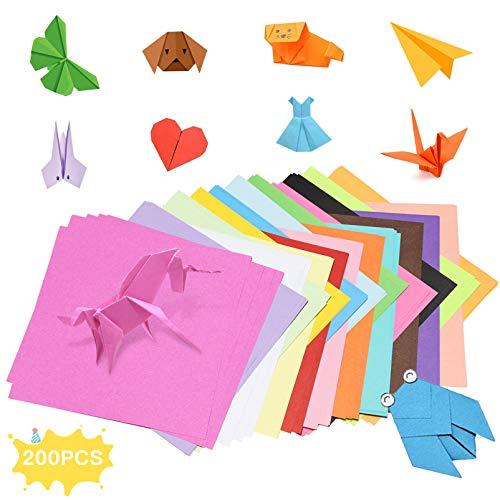 Origami paper,200 hojas kit de origami para niños,Color Kit De Origami,Origami Hecho a Mano,Papel de Origami Plegable,Doble Cara Papel de Origami,Kit de papel para origami