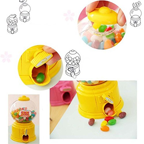 VANKER caramelo dispensador máquina de chicles de Gumball Snacks de almacenamiento de cajas de regalos de juguetes(Amarillo)