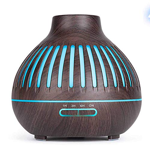 miwaimao Essential Oils Diffuser, 400Ml Ultrasonic Humidifier Aromatherapy Diffuser with 7 Colors LED Electric Aromatherapy Lights, Remote Control, for Home, Yoga, Office, SPA,Light wood