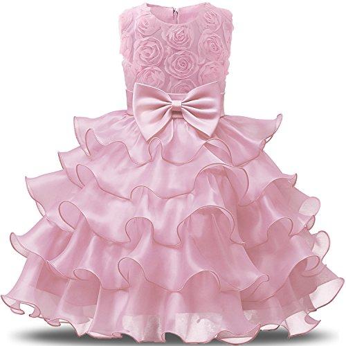 NNJXD Mädchen Kleid Kinder Rüschen Spitze Party Brautkleider Größe(150) 7-8 Jahre Blumen Rosa