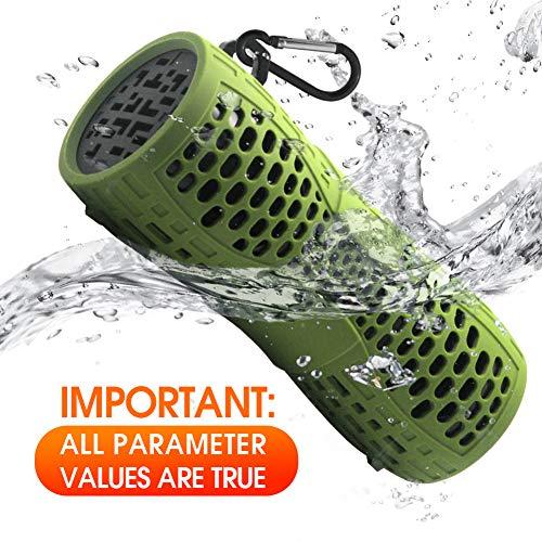 Tingda Bluetooth Lautsprecher Wasserdicht, Outdoor Tragbare IP66 Dusche Bluetooth Box, 12W bass Sound, AUX-Anschluß, Freisprechanlage, Ingebauten Mikrofons, für Fahrrad, Bad, Garten, Reisen - Grün