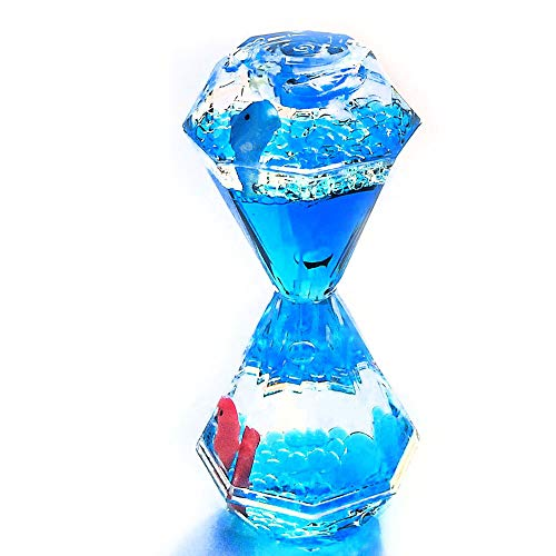 YUE Action Liquid Motion Bubbler Floating Sea Creatures, Diamond Shaped Liquid Timer for Fidget Toy,Autism Toys , Children Activity, Calm Relaxing and Home Ornament