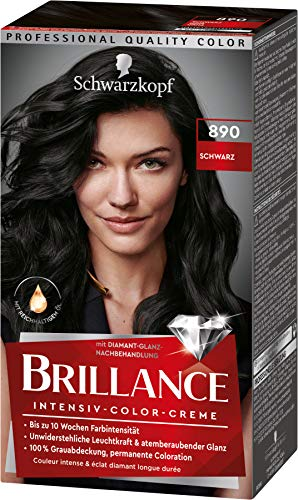 Brillance Intensiv-Color-Creme Haarfarbe 890 Schwarz Stufe 3, 3er Pack(3 x 160 ml)