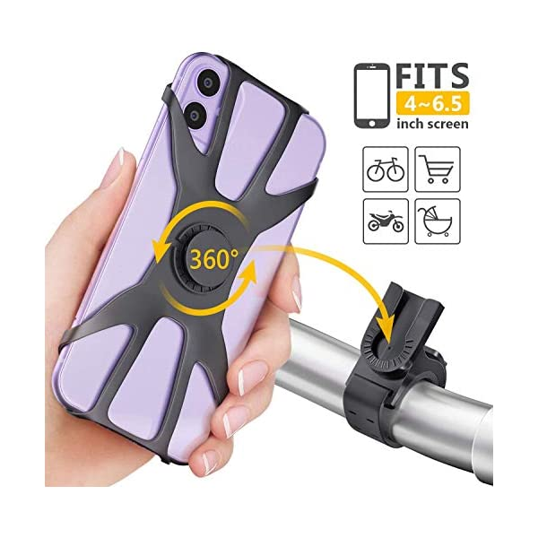 Diagtree Detachable Bike Phone Mount,360° Rotation Adjustable Motorcycle/Bicycle Handlebars Phone Holder,Compatible with iPhone 11 (Pro/Pro Max)/XR/X/8/7/6,Samsung Galaxy S9/S10/S20.