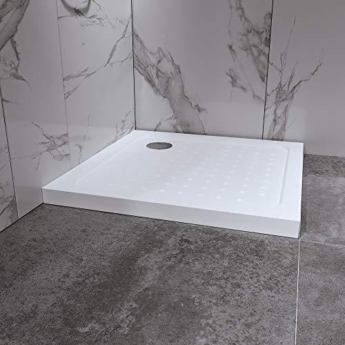 Duschwanne Duschtasse 80x80 cm Quadratisch Acryl inkl. Ablaufgarnitur (Syphon) Weiss - Duschwanne mit Gefälle