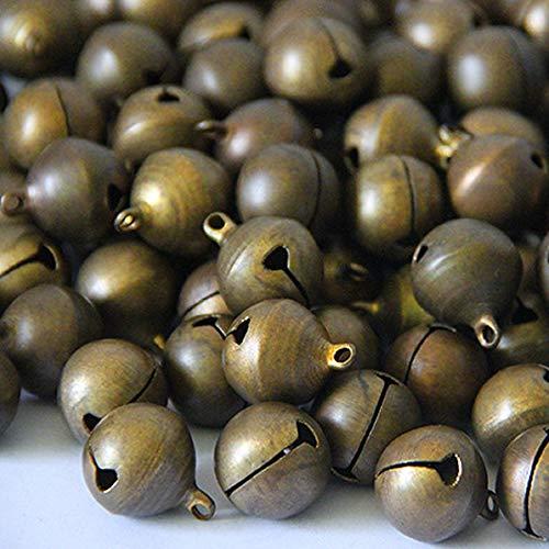 Qiwenr 200 Piezas 6MM Cascabeles de Bronce Vintage,Campanillas de Metal té Mano Bell Campanas de Navidad,para Timbre de Puerta Entrenamiento de Orinal para Perros Decoración de Navidad