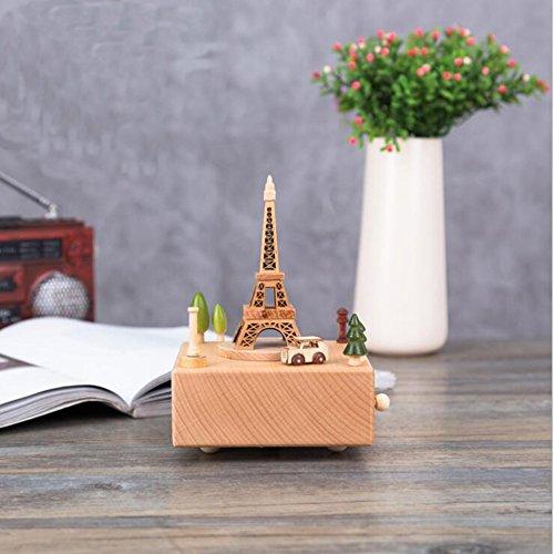 Boîte à musique Creative boîte musicale bois Wind Up boîte à musique avec stress reliant Tune parfait comme décoration d'anniversaire cadeau de fête de Noël pour les enfants amis parents (Tour Eiffel)