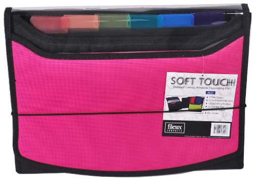 Filexec Soft Touch Padded Canvas Window Expanding File, 13 Pockets, 1 Pack, Hot Pink (46222-3)