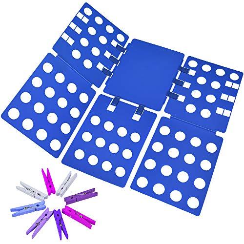 PetOde Shirt Folder Clothes Folding Board Shirt Folding Board Flip fold t Shirts Clothes Durable Plastic Laundry folders, 8 Natural Clothespins
