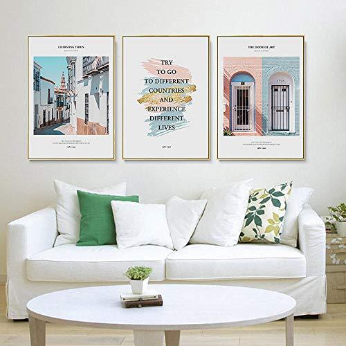wymhzp Moderne nordische Reiselandschaft Skandinavien Leinwandbilder Wandkunst Poster Druck Bilder für Wohnzimmer Wohnaccessoires 40x60cmx3 Ungerahmt