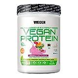 Weider-Vegan Protein- Proteína 100% vegetal de guisantes (PISANE) y arroz. Sin gluten. Sin lactosa. Sin aceite de palma (750 g). Sabor Frutos Rojos