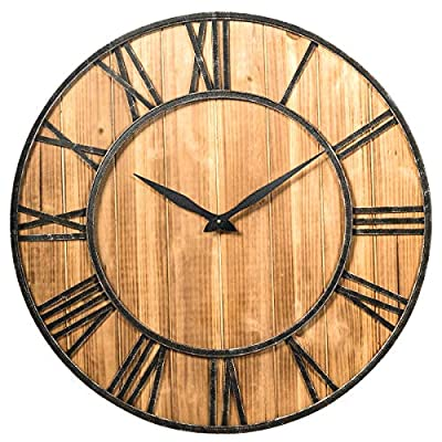 Tangkula 30 Inch Round Wall Clock, Wall Clock with Roman Numerals, Decorative Wooden Wall Clock, Come with AA Battery, Rustic Wall Clock Hanging for Home Offiice (Bronze+Brown)