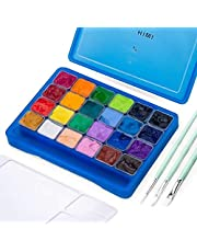 HIMI Gouache Paint Set, 24 Colors x 30ml Unique Jelly Cup Design with 3 Paint Brushes and a Palette in a Carrying Case Perfect for Artists, Students, Gouache Opaque Watercolor Painting