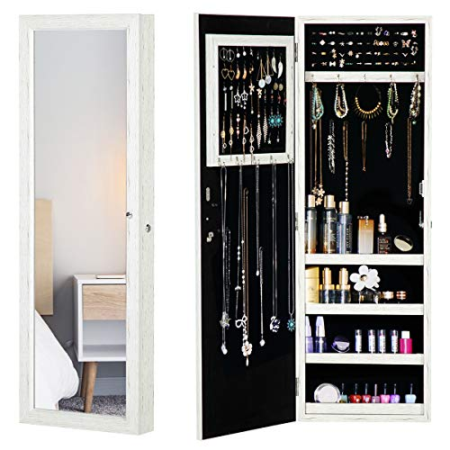 YOLENY White Wood Grain Coated Jewelry Organizer Jewelry Cabinet, Full Length Mirror, Lockable Design, Maginetic Zones, Wall Door Mounted, Large Capacity Dressing Mirror Makeup Jewelry Armoire