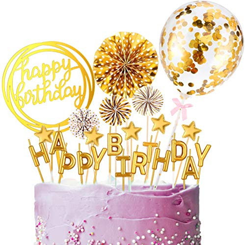 Golden Happy Birthday Cake Toppers Set Birthday Cake Decoration Supplies Candles Confetti Balloon Stars and Fan Cupcake for Children or Adults Various Cupcake Decoration (12 Pieces)