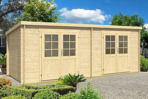 CARLSSON Alpholz Gartenhaus Maria Twin aus Massiv-Holz | Gerätehaus mit 28 mm Wandstärke | Garten Holzhaus inklusive Montagematerial | Geräteschuppen Größe: 598 x 250 cm | Pultdach