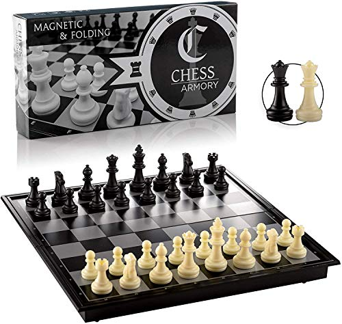"""Chess Armory Travel Chess Set 9.5"""" x 9.5""""- Plastic Chess Set for Kids with Folding Magnetic Chess Board, Staunton Chess Pieces, Storage Box, & 2 Extra Queens - Portable Chess Set Board Game"""