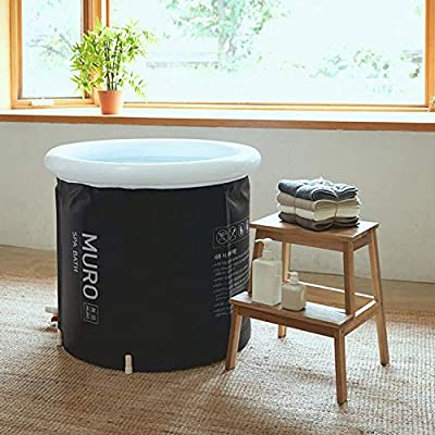 MURO Portable Bathtub for Adults, Foldable Freestanding Spa Bathtub for Soaking in Shower Stall, 3 Layer for Insulation, Black, Includes Bonus Cushion