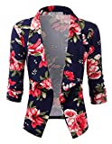 NINEXIS Womens Casual Work 3/4 Sleeve Open Front Blazer Jacket with Plus Size NAVYPINK 2X
