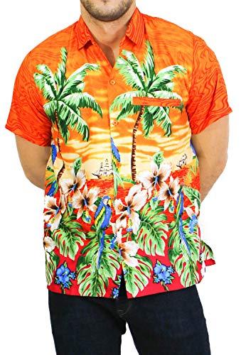 LA LEELA Men's Hula Dancer Button Down Short Sleeve Hawaiian Shirt XS Orange_W93