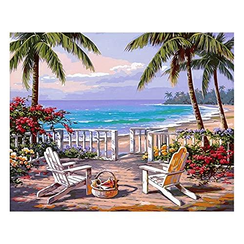 Peinture acrylique par numéro Paysage marin de plage, Kits de peinture par numéros avec pinceaux et pigment acrylique Peinture sur toile bricolage par numéros pour adultes débutants...