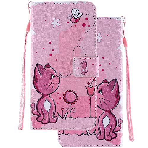 LEMORRY Handyhülle für Huawei Honor Play 8A / JAT-L29 Hülle Leder Tasche Beutel Schutz Magnetisch Stehen mit Kartenschlitz Weich Silikon Flip Cover Schutzhülle für Honor Play 8A, Süße Katze Malerei