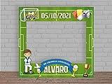 Photocall en Cartón para Comunión Campo Fútbol Personalizado Nombre y Fecha | 100x100cm | Photocall Económico y Original | Photocall Troquelado