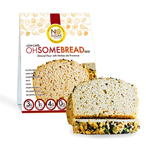 No Sugar Aloud Low Carb Ohsome Bread Mix Herbes de Provence (No Sugar Added, Gluten Free, Vegan, Paleo, Keto and Diabetic Friendly)