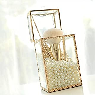 KUSO Vintage Gold Mirrored Makeup Brush Holder, Clear Glass Cosmetic Storage Box , Jewelry Earring Organizer Box ,Container Cube Decorative Dressing Tabletop Gold (Square)