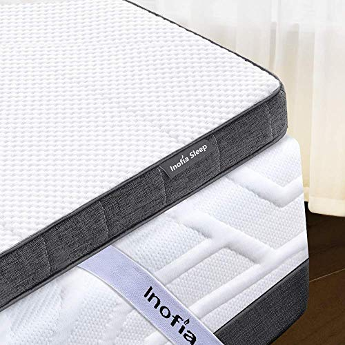 Inofia 200 x 200cm Gel Memory Foam Mattress Topper,3' Gelgem Mattress Topper with Removable Cover and Storage Bag, Maintains a Cooler Sleep By Gel Infused,Rest Easy on Sofa or Mattress,100Night Trial